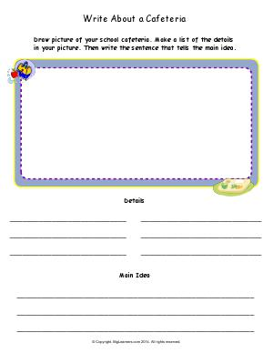 Preview image for worksheet with title Write About a Cafeteria