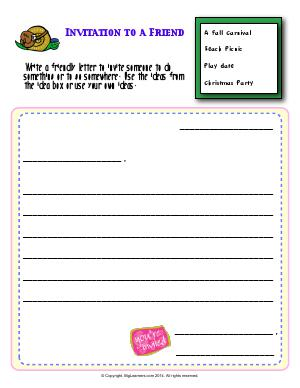 Preview image for worksheet with title Invitation to a Friend