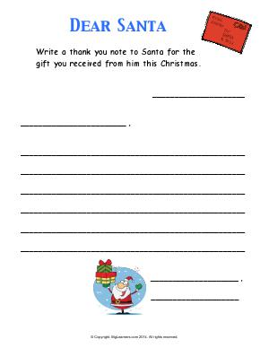 Preview image for worksheet with title Dear Santa