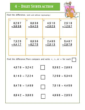 Preview image for worksheet with title 4-Digit Subtraction