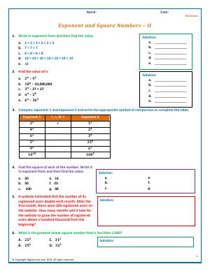 Preview image for worksheet with title Exponent and Square Numbers - II