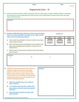 Preview image for worksheet with title Organized Lists - II