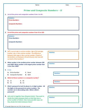 Preview image for worksheet with title Prime and Composite Numbers - II