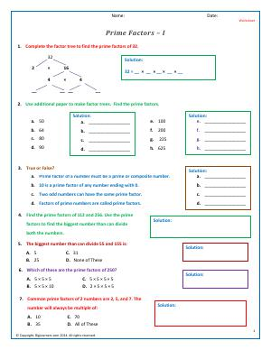 Preview image for worksheet with title Prime Factors - I