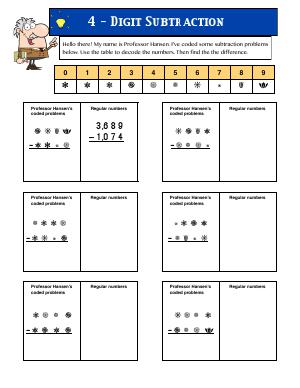 Preview image for worksheet with title 4 Digit Subtraction 2