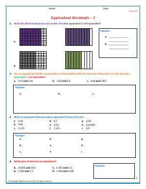 Preview image for worksheet with title Equivalent Decimals - I
