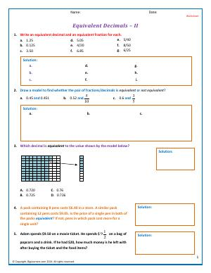 equivalent decimals fifth grade math worksheets biglearners. Black Bedroom Furniture Sets. Home Design Ideas