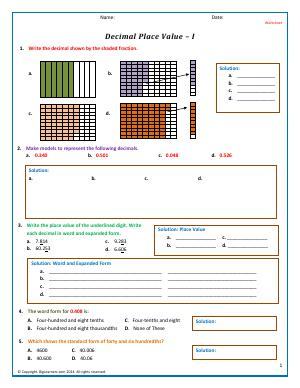 Preview image for worksheet with title Decimal Place Value - I