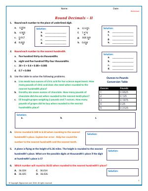 Preview image for worksheet with title Round Decimals - II