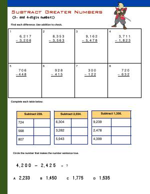 Preview image for worksheet with title Subtract Greater Numbers