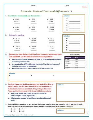 Preview image for worksheet with title Estimate- Decimal Sums and Differences - I