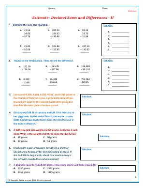 estimate sums and differences fifth grade math worksheets biglearners. Black Bedroom Furniture Sets. Home Design Ideas