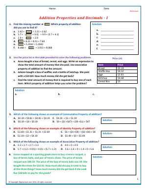 Preview image for worksheet with title Addition Properties and Decimals - I
