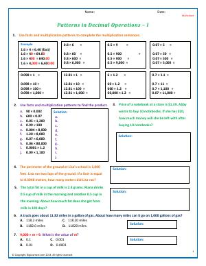 Preview image for worksheet with title Patterns in Decimal Operations - I