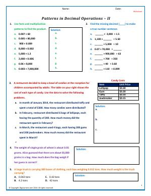 Preview image for worksheet with title Patterns in Decimal Operations - II
