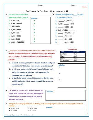 patterns in decimal operations fifth grade math worksheets biglearners. Black Bedroom Furniture Sets. Home Design Ideas
