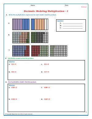 Preview image for worksheet with title Decimals: Modeling Multiplication - I