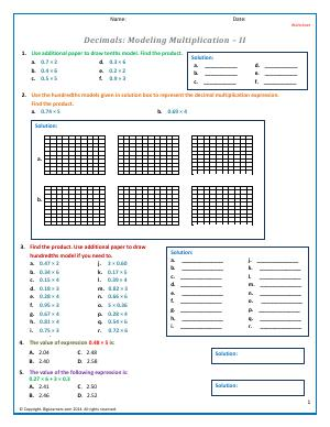 Preview image for worksheet with title Decimals: Modeling Multiplication - II