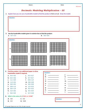 Preview image for worksheet with title Decimals: Modeling Multiplication - III