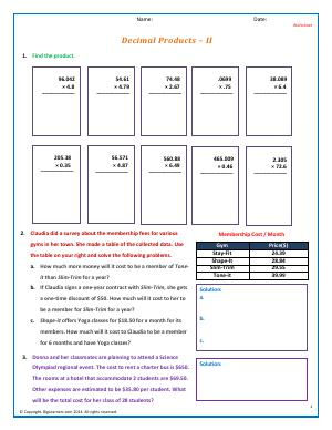 Preview image for worksheet with title Decimal Products - II