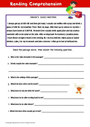 Preview image for worksheet with title Reading Comprehension : Arlon's Daily Routine