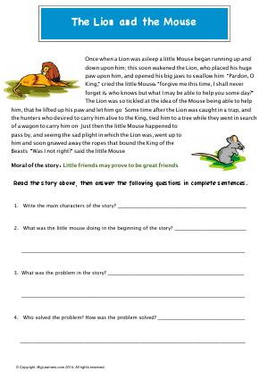 Preview image for worksheet with title The Lion and the Mouse