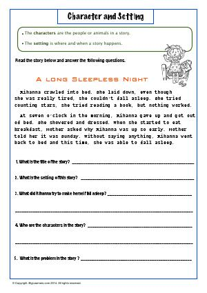 Preview image for worksheet with title Character and Setting