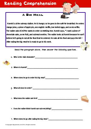 Preview image for worksheet with title Reading Comprehension : A Big Meal