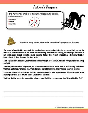 Preview image for worksheet with title Author's Purpose