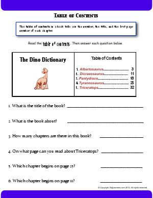 Preview image for worksheet with title Table of Contents