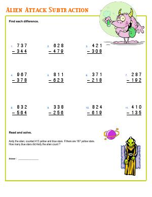 Preview image for worksheet with title Alien Attack Subtraction
