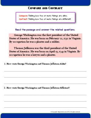 Preview image for worksheet with title Compare and Contrast