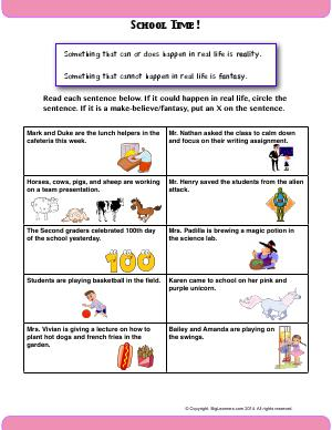 Preview image for worksheet with title School Time!