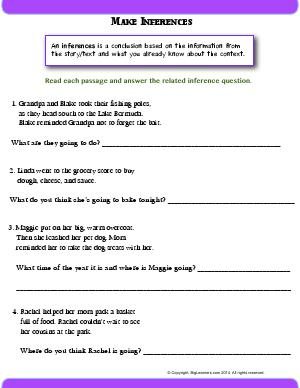 Preview image for worksheet with title Make Inferences