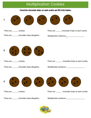 Preview image for worksheet with title Multiplication Cookies