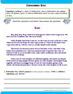 Preview image for worksheet with title Expository Text