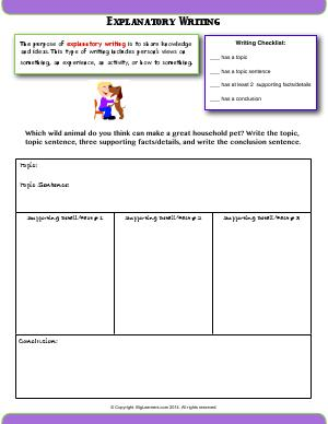 Preview image for worksheet with title Explanatory Writing
