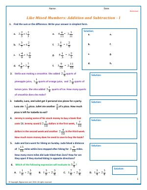 Preview image for worksheet with title Like Mixed Numbers: Addition and Subtraction - I