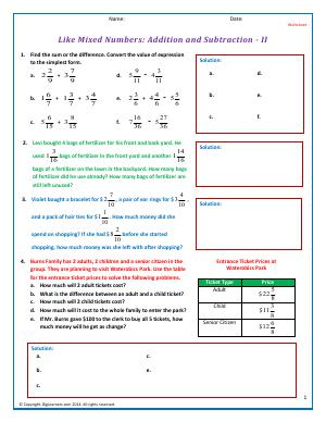 Preview image for worksheet with title Like Mixed Numbers: Addition and Subtraction - II