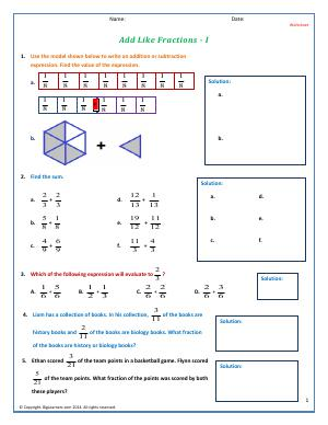 Preview image for worksheet with title Add Like Fractions - I