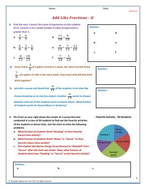 Preview image for worksheet with title Add Like Fractions - II
