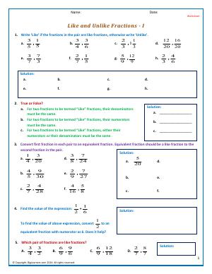 Preview image for worksheet with title Like and Unlike Fractions - I