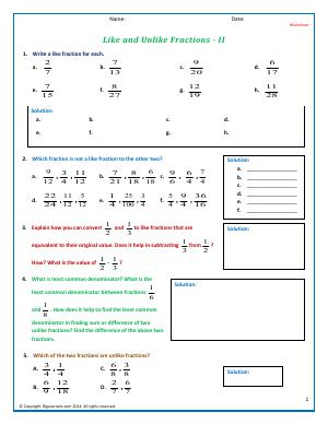 Preview image for worksheet with title Like and Unlike Fractions - II