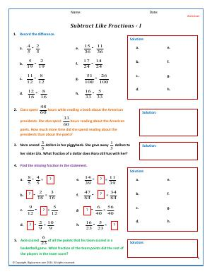 Preview image for worksheet with title Subtract Like Fractions - I