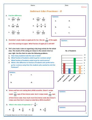 Preview image for worksheet with title Subtract Like Fractions - II
