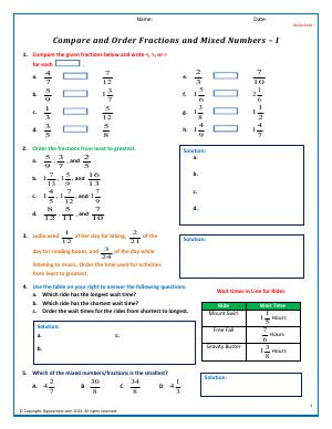 Preview image for worksheet with title Compare/Order Fractions and Mixed Numbers - I