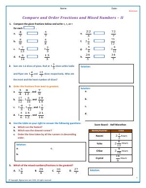 Preview image for worksheet with title Compare/Order Fractions and Mixed Numbers - II