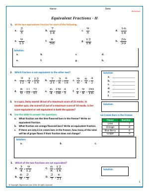 Preview image for worksheet with title Equivalent Fractions - 2