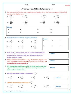 Preview image for worksheet with title Fractions and Mixed Numbers - I