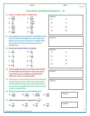 Preview image for worksheet with title Fractions and Mixed Numbers - II